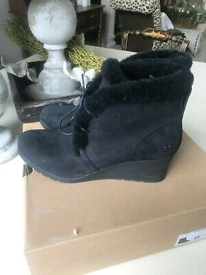 cbe2a6add38 UGG AUSTRALIA JEOVANA Boots Black Suede Waterproof WP 1017421 Wedge ...