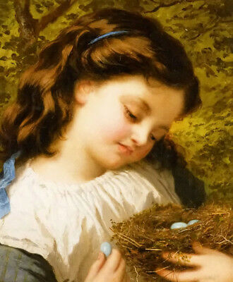 Dream-art Oil painting lovely and cute little girl with the birds nest on canvas