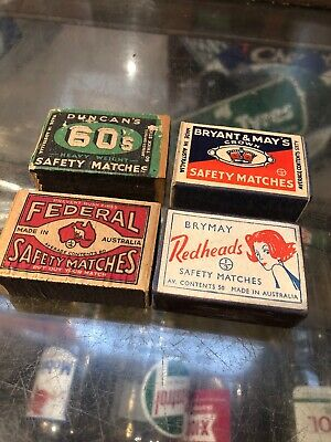 Vintage Match Boxes X 4 Redheads Duncans Federal Bryant