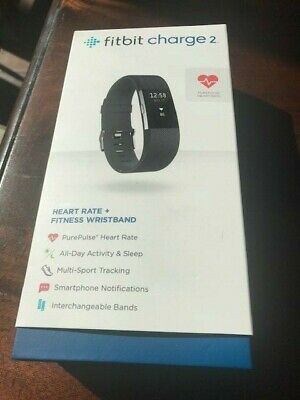 Fitbit Charge 2 Heart Rate Monitor Fitness Tracker Wristband Black Large NIB