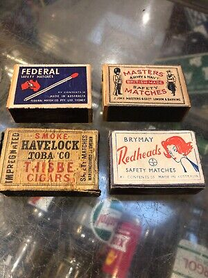 Vintage X 4 Match Boxes Federal Masters Havelock Redheads