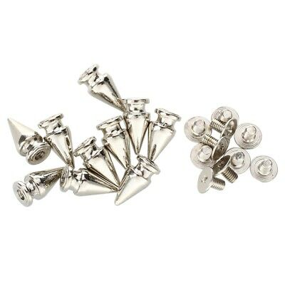 10 Set Silver Screw Bullet Rivet Spike Studs Spots DIY Rock Punk 7x13mm X3J6