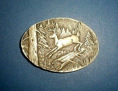 Leaping Deer Belt Buckle-Hunting-Vintage 1980 Collectible-Indiana Metal Craft