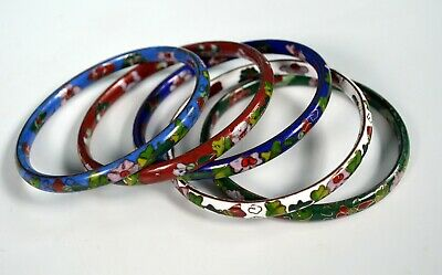 Vintage Lot of 5 Cloisonne Brass Enameled Chinese Floral Bangle Bracelets