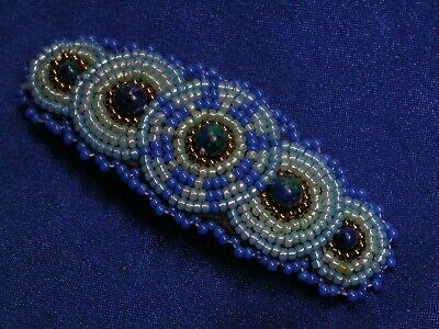 Vintage Hand Made Beaded Blue South West Buckskin Leather Hair Clip