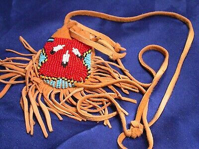 Vintage Hand Made Beaded Red Eagle Feather South West Buckskin Leather Bag Pouch