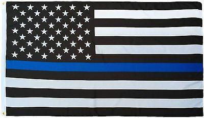 5x8 USA Police Thin Blue Line Memorial American 5ft x 8ft Flag Banner Polyester