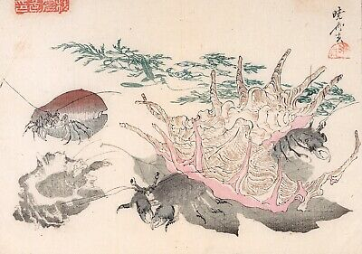 Kawanabe Kyosai, Authentic, Antique Woodblock Print—Kyosai Rakuga RARE!