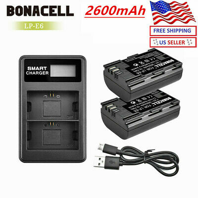 Replacement LP-E6 Battery Or Charger For Canon 6D Mark II 5D Mark III 7D