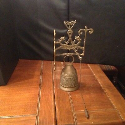 Vintage Large Brass Monastery Bell Wall Mount, with Latin inscription