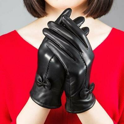 Lambskin Leather Driving Soft Lining Gloves Ladies Women Winter Warm Genuine A