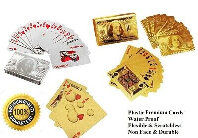 Professional Plastic Coated Waterproof Playing Cards Silver & Golden