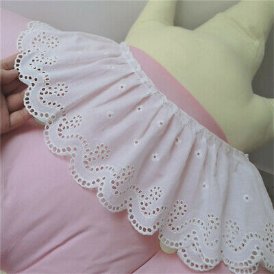 2Meter White 100% Cotton Embroidery Crochet Lace Trims Collar Sewing Craft