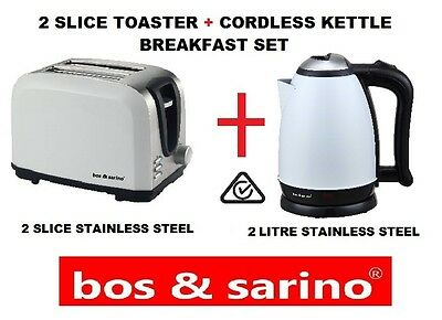 2 Slice WHITE & 2L Cordless Kettle Stainless Steel Perfect for any Household