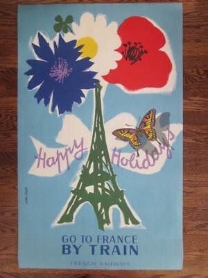 Original 1954 Jean Colin GO TO FRANCE BY TRAIN French Railways Happy Holidays