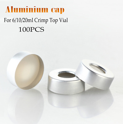 100pcs aluminiu Cap Septa en PTFE+Silicone  Septa 20mm Crimp top Caps HPLC/GC