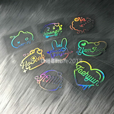 Bangtan Boys Laser Stickers Hologram Sticker Kpop Bomb Lightstick Laptop Decals