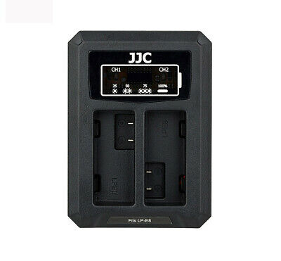 JJC USB Dual Battery Charger for CANON EOS 700D 650D 600D 550D (LP-E8)