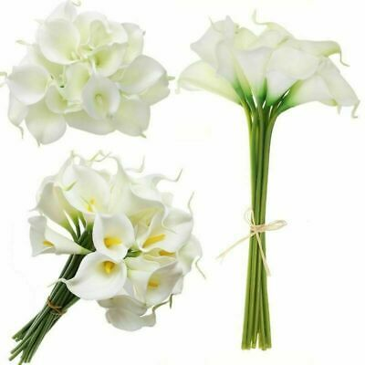 20 Heads Artificial Real Touch Lily Calla  Fake Flower Wedding Party Bouquet