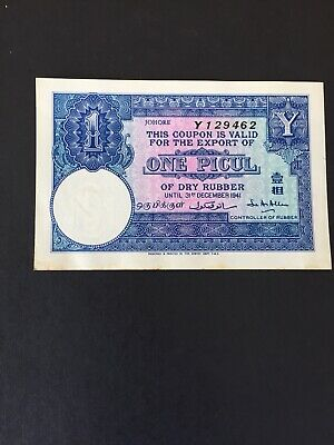 Malayan Rubber Export Coupon WW2  One Piccul