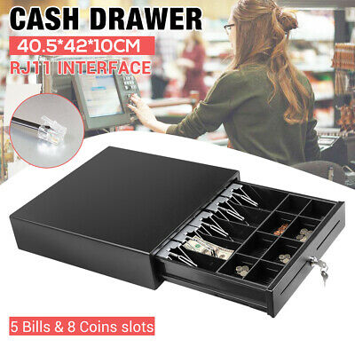 Manual Electronic Heavy Duty RJ11 Cash Drawer Register POS 5 Bills 8 Coins Tray