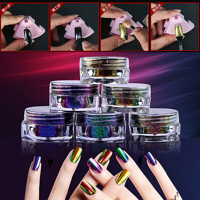6 Colors Chameleon & Gold Silver Mirror Chrome Powder Pigment Dust Nail Sell
