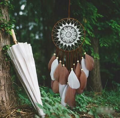 Handmade Brown Dream Catcher With Feathers Wall Hanging Decoration Ornament Gift