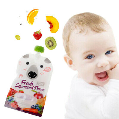 8PC Fresh Resealable Squeezed Pouches Practical Baby Weaning Food Puree Reusable