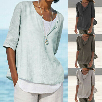 977a8733fd0424 Plus Size Women's Loose Linen Casual Button V Neck Solid Shirt Blouse Tunic  Tops