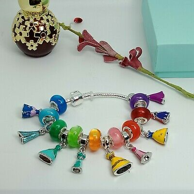 S925 silver plated Pandora resemble Disney Dresss Glass beads Charms Bracelet