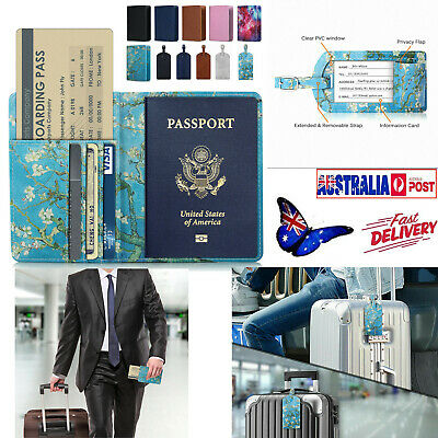 Travel RFID Protector Blocking Leather Passport ID Holder +Taggy Luggage Tag Bag