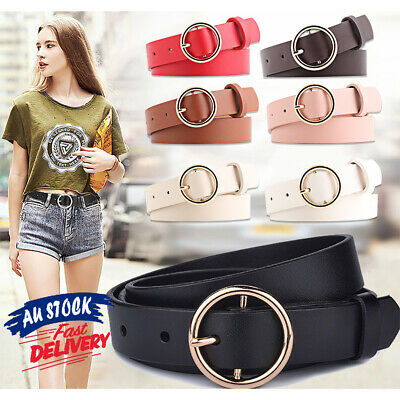 Womens Belt PU Vintage Fashion Waistband Alloy Circular Buckle Waist New
