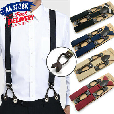 Mens Leather 6 Button Hole Navy Red Braces Suspenders Wide Black Grey 3.5CM