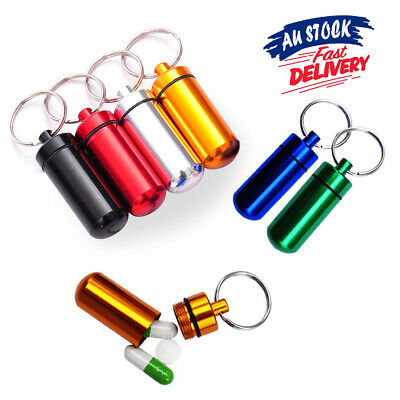 Stash Pill Box Case Keyring Container Waterproof 1 X Aluminum Bottle