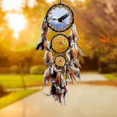 New Handmade Eagle Print Dream Catcher Feathers Wall Hanging Decoration Ornament