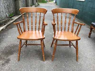 2 Roman Spindle Back Windsor Cafe / Bar / Restaurant / Pub Carver Chairs