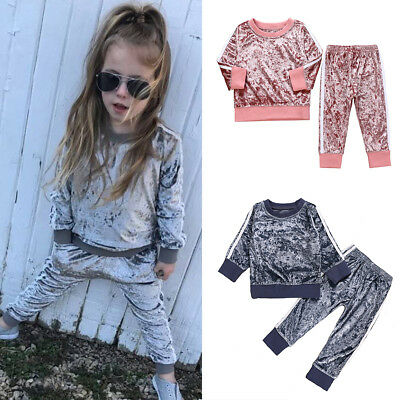 2pc/Set Girl Velvet T-shirt Top+Pants Tracksuit Toddler Baby Clothes Kids Outfit