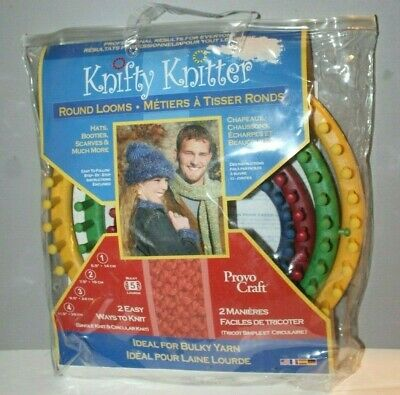 Knifty Knitter Round Loom Series Provo Craft Set of 4 Bulky Yarn Hats Booties