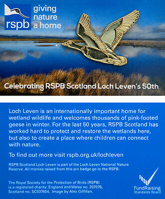 RSPB Pin Badge | pink-footed goose GNAH Loch Leven 50th anniversary (01277)
