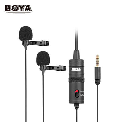 BOYA BY-M1DM Lavalier Clip-on Dual Microphone for DSLR Camera Smartphone PC I5A0