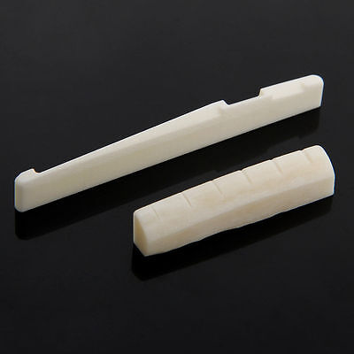 Beige Buffalo Bone Bridge Saddle And Slotted Nut For 6 String Acoustic Guitar FH