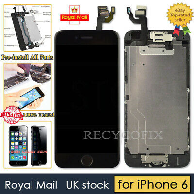 Black Screen For iPhone 6 Replacement Digitizer LCD Touch Home Button& Camera UK