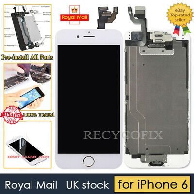 White Screen For iPhone 6 Replacement Digitizer LCD Touch Home Button& Camera UK