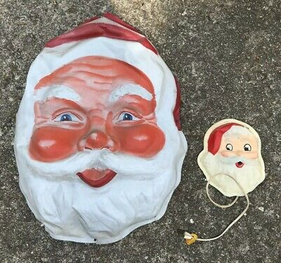 Pair of Vintage Rare 1950s HTF Plastic Santa Head Face Light - Large and Small