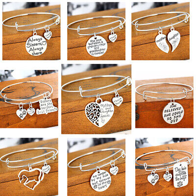 Silver Expandable Wire Bangle Charm Bracelet Womens Jewellery Family Mum Sister