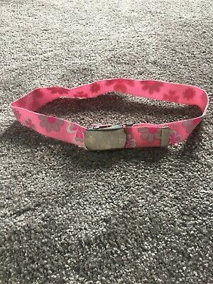 Kids Pink Webbing Belt With Flowers On