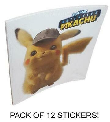 Pokemon Detective Pikachu Movie Jumbo Sticker Party Pack! Includes 12 Stickers!!