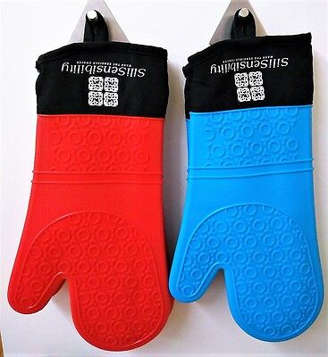 X2FREE BAKING MATS with PAIR OF LONG HEAT RESISTANT SILICONE OVEN/BBQ GLOVE/MITS