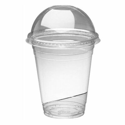 1000 x SMOOTHIE CUPS & DOMED LIDS Clear Plastic party cup milkshake juice 12oz