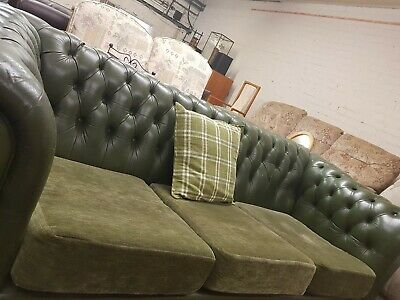 UNIQUE VINTAGE GREEN LEATHER CHESTERFIELD 3SEATER SOFA with FABRIC BASE CUSHIONS